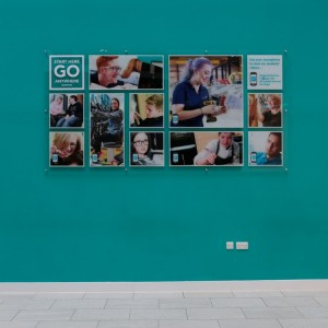Acrylic Plaques with Vinyl Print to Rear. Fixed to Internal Wall with Stand-off Fixings