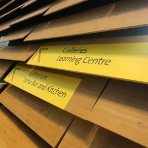 Folded Aluminium Directory Signage with Cut out Numerals and Printed Text