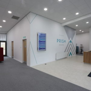 Digital Screen fixed to internal wall and wall graphics