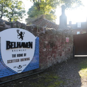 Folded aluminium sign with built up stainless steel text to read BELHAVEN.