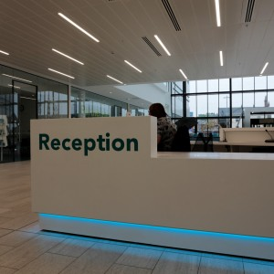 Vinyl text on Internal Reception Desk