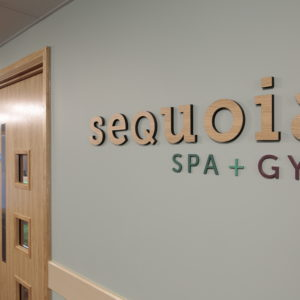 Timber CNC Cut Text. Fixed to Internal Wall.