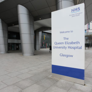 External Double-Sided Free-Standing Totem Sign Queen Elizabeth University Hospital Signage